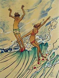 I absolutely love the art nouveau inspired surf art of San Diego artist Harry Daily. Fluidity, whimsy and dreamy muted colors capture a nostalgic Southern California summer day. I can smell the Coppertone...