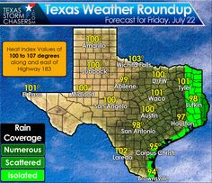 Temperatures will climb into the upper 90s to lower 100s this afternoon. D/FW may finally hit 100 degrees today, but it'll be hot regardless. Scatterded afternoon storms are expected in far Southeast Texas. The good news is the upper level high pressure shifts west by early next week with slightly cooler weather. #txwx