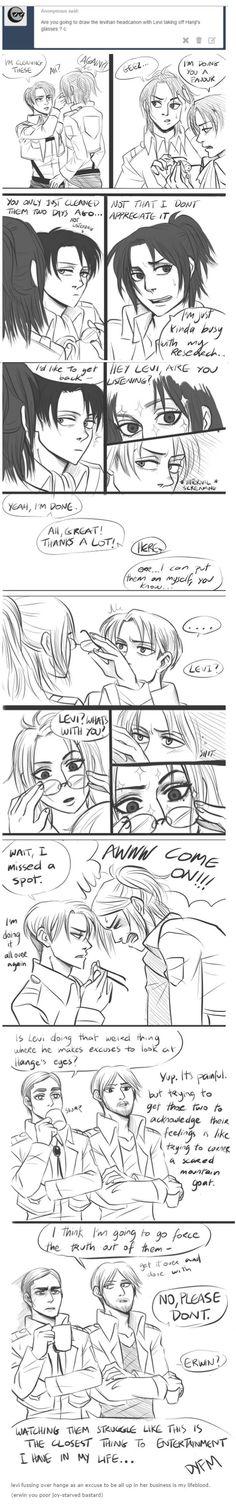 Levihan/ damn this is just sooooo cute ! <<< I don't ship Levi X hanji but this is cute Attack On Titan Funny, Attack On Titan Ships, Attack On Titan Anime, Me Me Me Anime, Anime Love, Mikasa, Dracula, Hanji And Levi, Aot Memes