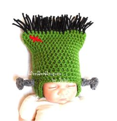 so franking cute:) newborn frankenstein hat halloween photography prop. $25.00, via Etsy.