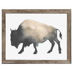"Framed Watercolor Buffalo 14""x11"" - Threshold™ : Target"