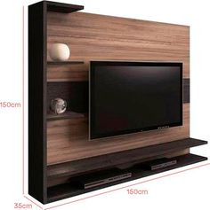 For those who love black n that natural wood touch Tv Cabinet Design, Tv Unit Design, Tv Wall Design, Tv Furniture, Furniture Design, Modern Tv Wall Units, Muebles Living, Tv Wall Decor, Living Room Tv