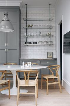 Modern classic kitchen, gray cabinets