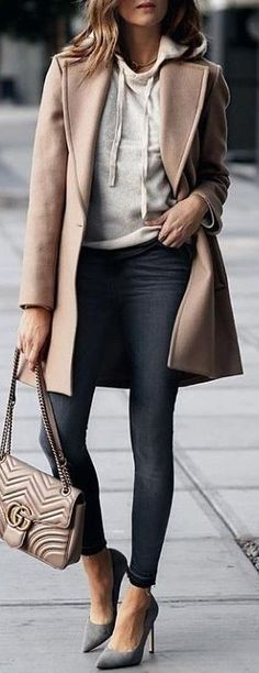 #winter #outfits beige coat