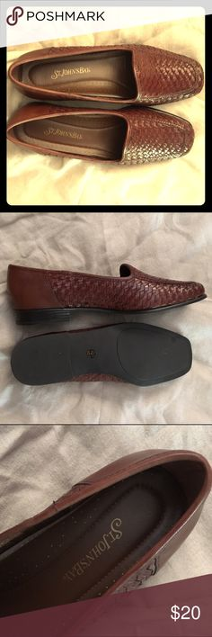 St. John's Bay Brown Leather Loafers Worn once,  brown woven leather loafers. St. John's Bay Shoes Flats & Loafers