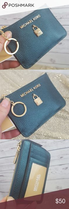 a6ebce8bb300a6 Michael Kors Coin zip key ID pouch Deep Teal Leather Gold tone hardware  ADELE Michael Kors Bags Wallets