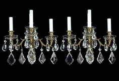 Brass and crystal sconces made in France around the 1880's $899.00
