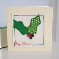 Handmade christmas card with fabric & felt - Folksy Christmas Fabric Crafts, Christmas Applique, Christmas Projects, Christmas Crafts, Christmas Sewing, Christmas Cushions, Christmas Décor, Christmas Ribbon, Christmas Decorations
