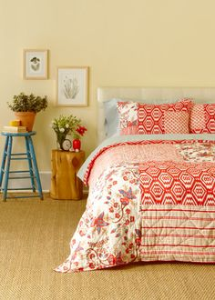 Patchwork Quilt - Coral Multi