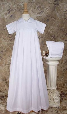 Heirloom christening gowns for boys | boys christening gown short sleeved polycotton pique simple boys short ...