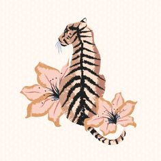 A tiger facing a lion, in the same art style and maybe the same flowers, or different flowers that are more personalized for me. Painting Inspiration, Art Inspo, Drawn Art, Neue Tattoos, Tiger Art, Grafik Design, Painting & Drawing, Cool Art, Art Drawings