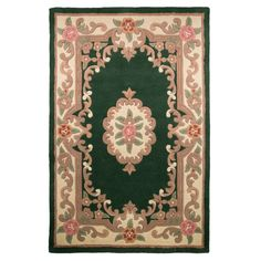 Pure Wool Chinese Handcrafted Aubusson Rugs In Bottle Green