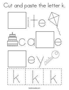 Cut and paste the letter k Coloring Page - Twisty Noodle Letter K Preschool, Letter K Crafts, Preschool Writing, Free Preschool, Homeschool Preschool Curriculum, Preschool Worksheets, Homeschooling, Money Worksheets, Phonics Books