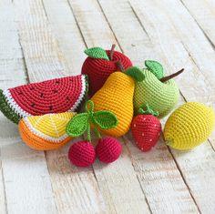 So bright, so fresh, so summer set of crochet fruits! 🍎🍋🍏🍊🍉🍐🍒🍓