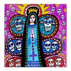 Day of the Dead Shower Curtains  Mexican Folk by HeatherGallerArt, $90.00