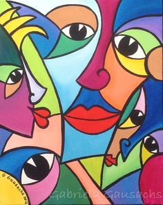 "Original acrylic painting 16""x19.5""abstract faces , # intuitivepainting # art #…"