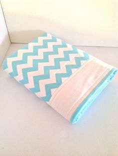 Chevron Baby Cot quilt in Aqua - by AlphabetMonkey on madeit