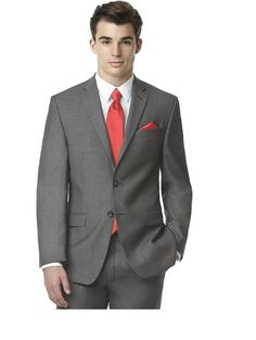 Charcoal suit with coral tie
