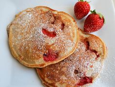 Whole Wheat Vanilla Strawberry Pancakes