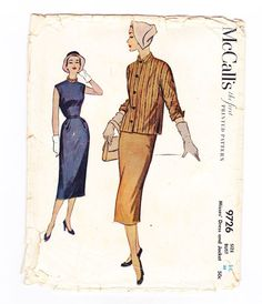 Womens Dress and Jacket Pattern: Cut & complete  Envelope: Worn condition, flap is creased, tears at edges.  Year: 1954    Size: 14  Bust: 32
