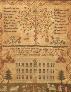 "Eliza Godly her Work aged 9 years in the year of our Lord 1827 Sheffield General Infirmary,"" silk and wool."