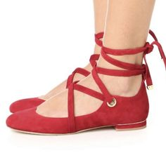 d2079589d56f1a diane von furstenberg Dakar Red Suede Lace Up Ballet Flats  fashion   clothing  shoes