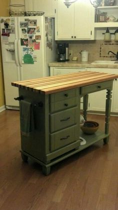 Kitchen : Excellent Diy Kitchen Island From Desk Repurposed Old Desks Diy Kitchen Island From Desk Diy Kitchen Island From Desk' Kitchens Diy Kitchen Island, Kitchen Cart, Kitchen Decor, Kitchen Cabinets, Kitchen Ideas, Desk To Island, Room Kitchen, Kitchen Island Ideas On A Budget, Dresser Kitchen Island