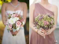 bride and bridesmaid holding out their fresh flower bouquets, bridesmaid's #diy bouquet was made with dried hydrangeas - winston salem wedding photography - raleigh nc wedding photographers