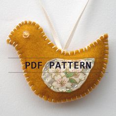 sewing ornaments | Items similar to ORNAMENT PDF sewing pattern - Golden Partridge Bird ...