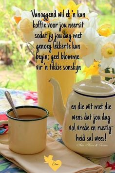 Lekker Dag, Happy Birthday Flower, Goeie Nag, Goeie More, Afrikaans Quotes, Christian Messages, Good Morning Wishes, Inspirational Thoughts, Mornings
