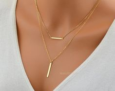 Check out LAYERED NECKLACE / Two Bar Necklace Set / Gold Bra necklace / Minimal Necklace / Simple Gold Jewelry / Horizontal, Vertical Bar Necklace on malizbijoux