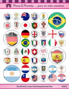 """2014 FIFA World Cup Flags Bottle Cap Images - 8.5"""" x 11"""" Digital Collage Sheet - 1"""" Circles for Hair Bows"""