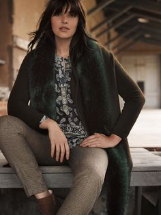 Candice Huffine wears plus size range of clothing for Violeta by Mango winter 2015 catalogue Photoshoot