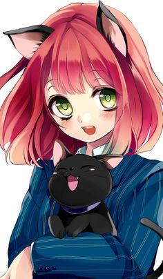 ✮ ANIME ART ✮ neko. . .cat girl. . .cat. . .cat ears. . .short hair. . .smile. . .blushing. . .big eyes. . .cute. . .kawaii