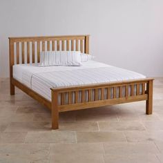 Original Rustic Solid Oak Queen Bed - The Original Rustic Solid Oak Queen Bed is crafted from solid oak in a traditional farmhouse style. The Original Rustic Solid Oak collection features gently rounded corners and chamfered Oak Furniture Land, Solid Wood Furniture, Bedroom Furniture, Furniture Design, Furniture Stores, Best Bed Designs, Double Bed Designs, Oak Double Bed Frame, Double Beds