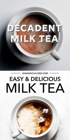 This milk tea from Oh, How Civilized is so delicious! This creamy beverage is perfect for tea time any time. This delicious milk tea is easy to make at home. Grab this easy recipe and try a decadent milk tea today! #milktea #tea #hottea #homemadetea Yummy Drinks, Healthy Drinks, Milk Tea Recipes, Iced Tea Recipes, Drink Recipes, Books And Tea, Tea Cocktails, Tea Drinks, Tea Sandwiches
