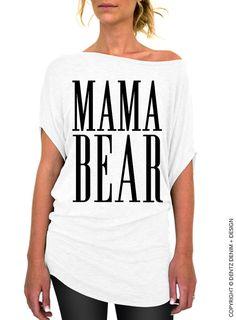 Mama Bear White Slouchy Tee by DentzDesign on Etsy