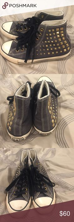 Converse sneakers with gold stud details. Amazing style shoes. Classic hightop feel with the edginess of studs. These are in great condition- only worn twice Converse Shoes Athletic Shoes