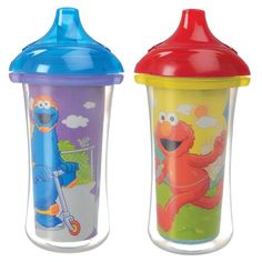 Munchkin /Yellow Sesame Street 9-ounce Click Lock Insulated Sippy Cups