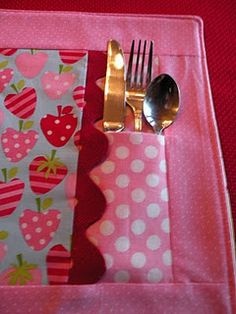 cute place-mat has pocket for fork would be cute to make extra pocket for a little surprise