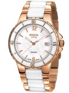 Boccia Titan Keramik Damen-Armbanduhr 3215-03 Urban Shop, Titanium Watches, White Ceramics, Michael Kors Watch, Gold Watch, Omega Watch, Rolex Watches, Rose Gold, Lady
