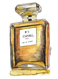 Chanel Nº 5 Eau De Parfum, Paris by @aleksandravss  #watercolor #ink #illustration #aleksandrav #art #chanel #chaneln5 #parfum #paris #eaudeparfum