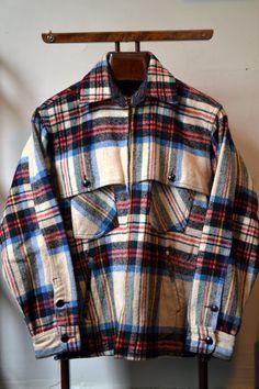 RARE Vtg. 40s 50s JOHNSON Woolen Mills White Red Blue Plaid Wool Hunting  Jacket Mackinaw Cruiser Size 40 42 Medium 490b46df32af