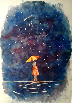 Girl with umbrella in a starry blue night What is there NOT to love in this... I want to paint this on my little girl's wall someday. @Anna Grace - @Allison Fode