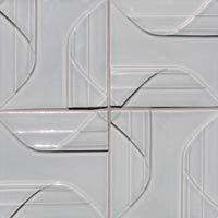 Modern, artisan handmade, ceramic, decorative relief tile, Topo  Collection pinwheel steel lead-free glaze, backspalsh, remodel, mid-century