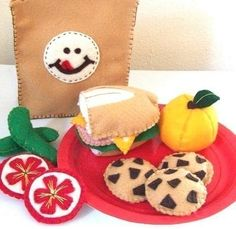 Felt Food Sack Lunch Picnic Pattern LUNCH TIME by LittleCrickets, $6.00