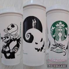 Starbucks reusable coffee cup in Jack Skellington theme · Micheles Designs · Online Store Powered by Storenvy Starbucks Cup Drawing, Starbucks Cup Design, Starbucks Tumbler Cup, Starbucks Art, Disney Starbucks, Personalized Starbucks Cup, Custom Starbucks Cup, Starbucks Christmas, Personalized Cups