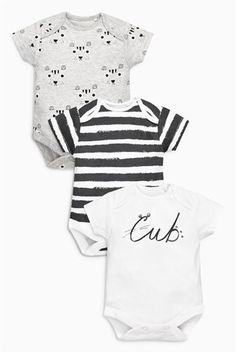 Buy Monochrome Cub Short Sleeve Bodysuits Three Pack (0mths-2yrs) from the Next UK online shop