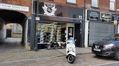 A Lambretta and a Vespa outside the shop. Vespa, Yorkshire, The Outsiders, Street, Shopping, Wasp, Hornet, Roads, Vespas