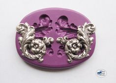 Elegant Flower and Leaf Scrollwork Right and Left Mold/Mould - Art Nouveau Victorian - Silicone Molds - Polymer Clay Resin Fondant